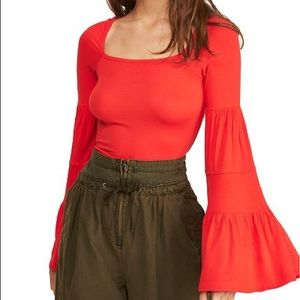 Free People   Red Babe Town Long Bell Sleeve Top